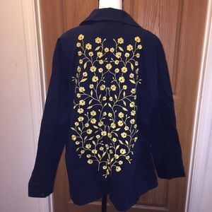 Boden navy trench coat with embroidered flowers